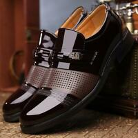 Men Luxury Fashion Leather Shoes Business Formal Slip on Hollow Out Dress Shoes