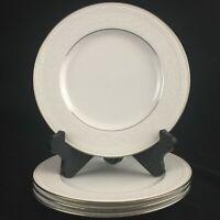 """Set of 4 Salad Plates 8 1/2"""" Noritake Whitecliff Platinum White Scapes Sri Lanka"""