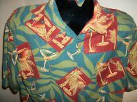Men's Banana Cabana 100% Silk S/S Button Down Hawaiian Shirt Size L Large