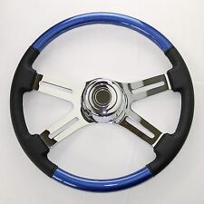 "4 Spoke 18"" Blue Combo Classic Steering Wheel 3-Hole for FL, PB, KW+++"