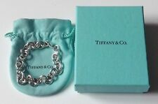 """Tiffany & Co. Sterling Silver 7 1/2"""" Large 10mm Round Link Charm Bracelet & Box"""