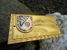 """Rare german 8 HOURS Race Nurburgring """"Green Hell"""" Car Badge from 1969"""