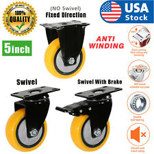 "Usa Heavy Duty Swivel Plate Casters 5"" Polyurethane Wheels Total Lock Brake"