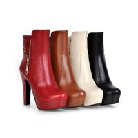 Chic Women Pointy Toe Zip High Block Heel Platform Ankle Boot Shoe Fashion New