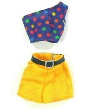Barbie Vintage Fitting Outfit Yellow Shorts & Purple w/ Dots Top
