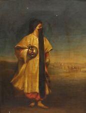 BELLE 19th secolo d.C. Danza araba Ragazza RITRATTO ANTICO DIPINTO AD OLIO