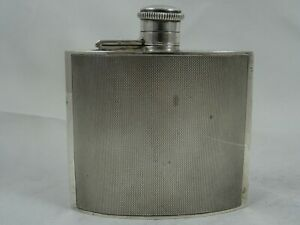 SUPERB, ART DECO sterling silver HIP FLASK, 1939, 118gm