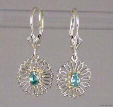 Genuine Blue zircon Filigree Leverback Earrings .925 Sterling Silver Dec. Stone