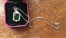 "Sterling Silver Micro Pave Fancy Pendant Green Cubic Zirconia 18"" Chain Gift A25"