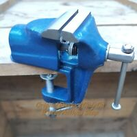 Antique Style Blue Iron Table Vise Blacksmith Tool Collectible