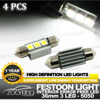4pcs/Set 36mm Festoon 3-LED, 5050 LED Bulbs, White Canbus Error Free Dome Lights