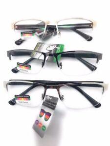 Mens Half Metal Rim Rectangular Multi 3 Power Focus Progressive Reading Glasses