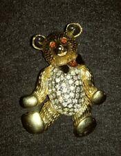 Vintage Rhinestone and Gold Tone Teddy Bear Brooch enamel