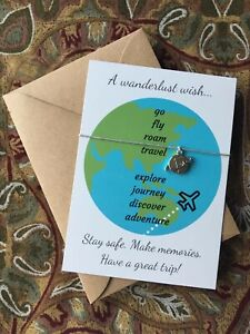 Travel Wish Bracelet Wanderlust Good Luck Adventure Charm World Gift Card