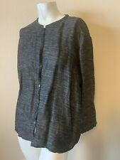 Eileen Fisher Womens Black Cotton Linen Cardigan Sweater L