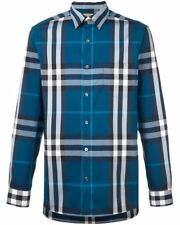 BURBERRY BRIT MEN'S Classic Check Detail Stretch Cotton Blend Shirt L MARINE BLU