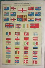 1940 stampa ~ bandiere di tutte le nazioni ~ Germania commerciante EIRE Union Jack ITALIA etc