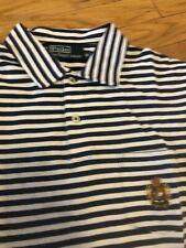 Polo Ralph Lauren Label Blue/White Striped Polo Crest. Sz. M $89