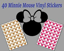 40 Minnie Mouse Head stickers MEDIUM SIZE 36mm wide available in many colours