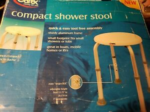 """New Carex Compact Round Shower Stool Adjustable Legs 13.75"""" to 20.5"""", box damage"""