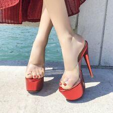 Womens Transparent Waterproof Platform Sandals High Heel Sexy Nightclub Slippers