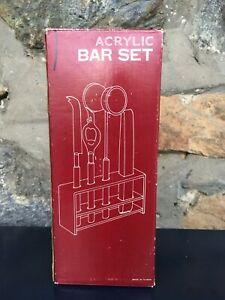 NEW Vintage Antique Brown Acrylic Bar Set Bottle Opener Tongs Jigger Knife