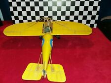 "Vintage Metal Steel 15"" Yellow World War Plane Display Toy with Propeller"