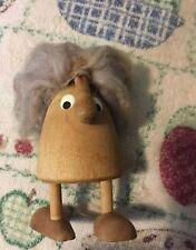 "Vintage Mid Century Wood Gnome Troll Wood 4"" Figure Sweden Bo Svensk"