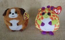 Lot of 2 Ty Beanie Ballz Bandit Dog & Toby Girafee Plush Stuffed Animal New Nwt