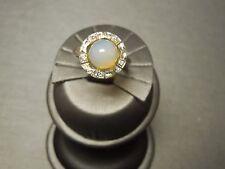 Vintage Estate C1950 10K White Gold Circular Opal Sphere & Diamond Ring