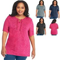 Just My Size Lace Up Tunic Top - OJ381