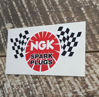 NGK CHECKER FLAG SPARK PLUGS Decal Sticker for Mancave Garage Retro Stickers
