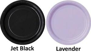 Paper Party Dinner Plates 8pk Approx 23cm - Black, Lavender,