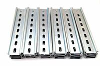 30 Pieces DIN Rail Slotted Steel Zinc Plated RoHS 8 in. long 35mm 7.5mm 20 ft.