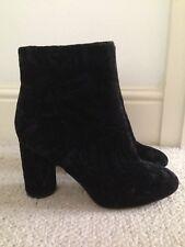 New H&M Black Velvet Ankle High Heel Boots 7 40