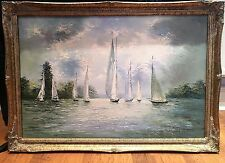 OIL PAINTING LARGE mid 20th Century Wonderful Yachting Scene PIECE GOLD FRAME