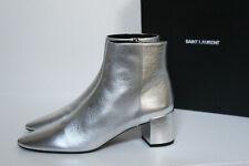 sz 7 / 37 Saint Laurent Loulou Silver Metalic Leather Almond  Ankle Boots Shoes