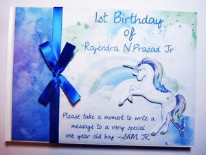 Blue Unicorn birthday guest book, Unicorn boys baby shower book, album, gift
