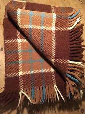"Vintage preloved Brown Plaid 100% Laine Couverture 70"" X 58"""