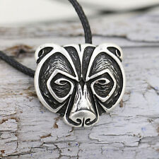 Bear Head Amulet Pendant Necklace Norse Viking Necklace Talisman Jewelry 3K9