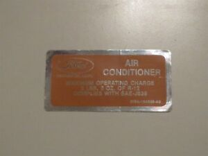 1971 LINCOLN CONTINENTAL MARK III TOWN CAR AIR CONDITIONING CMPRSSR CHARGE DECAL