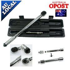 """1/2"""" to 3/8"""" Dual Drive Micrometer Torque Ratchet Wrench Hand Tools with Case AU"""