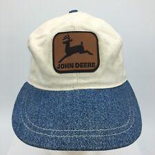 Vtg John Deere Leather Patch Denim Brim Made in USA Snapback Hat