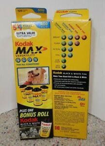 4 + BONUS ROLL B&W 5 ROLLS Kodak MAX 400 ISO 35mm Film EXP-2004