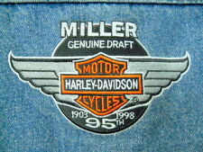 Harley Davidson Denim Jacket Med Miller Genuine Draft 95th Ann. Patch MGD Breast