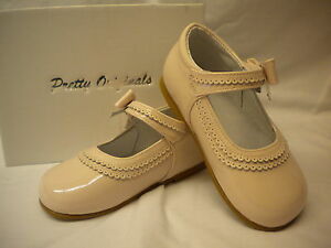 Girls Pretty Originals Pink Leather Patent Shoes with Bow  Asst  Sizes