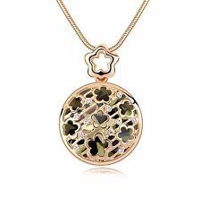18K Gold GP SWAROVSKI Element Crystal  Filigree Pendant Necklace Black