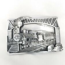 Vintage Railroad Train Belt Buckle Silver Tone Brass Made In USA