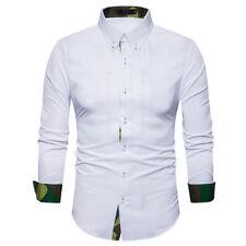 New Men's Casual Dress Shirt Mens camouflage Long Sleeve formal Shirts