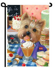 "Yorkie painting GARDEN FLAG NEW ""Yorkshire Pudding"" Dog ART Yorkshire Terrier"